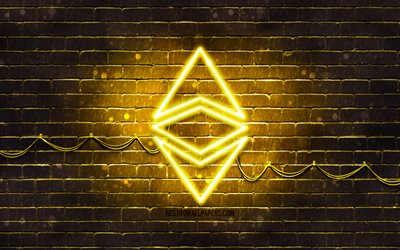 Ethereum gul logotyp, 4k, gul brickwall, Ethereum logotyp, cryptocurrency, Ethereum neon logotyp, cryptocurrency tecken, Ethereum