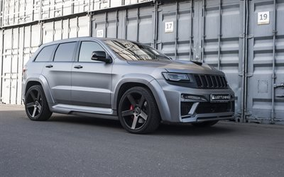 Jeep Grand Cherokee SRT, exterior, gray matte SUV, tuning Grand Cherokee, american cars, Jeep