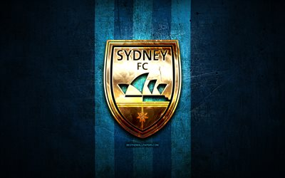 Sydney FC, golden logo, A-League, blue metal background, football, FC Sydney, Australian football club, FC Sydney logo, soccer, Australia