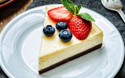 cheesecake with berries, strawberries, blueberries, cakes, sweets, cheesecake