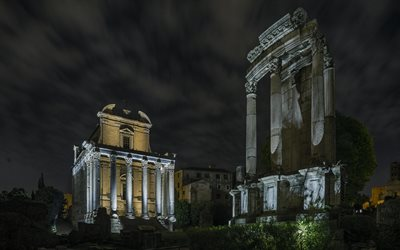 Imperial fora, Rome, Forum of Caesar, Rome landmark, night, ruins, Italy
