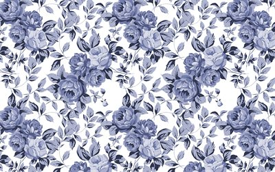 blue vintage background, 4k, background with flowers, vintage floral pattern, blue flowers, floral ornaments, floral patterns, blue backgrounds