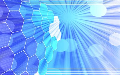 honeycomb blue background, blue hexagons background, digital technology blue background, blue abstraction, honeycomb abstraction, blue rays background