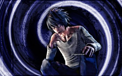 4k, L Death Note, blue grunge background, Death Note characters, Eru, manga, L Lowlight, vortex, protagonist, Death Note