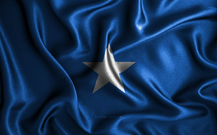 Somali flag, 4k, silk wavy flags, African countries, national symbols, Flag of Somalia, fabric flags, Somalia flag, 3D art, Somalia, Africa, Somalia 3D flag