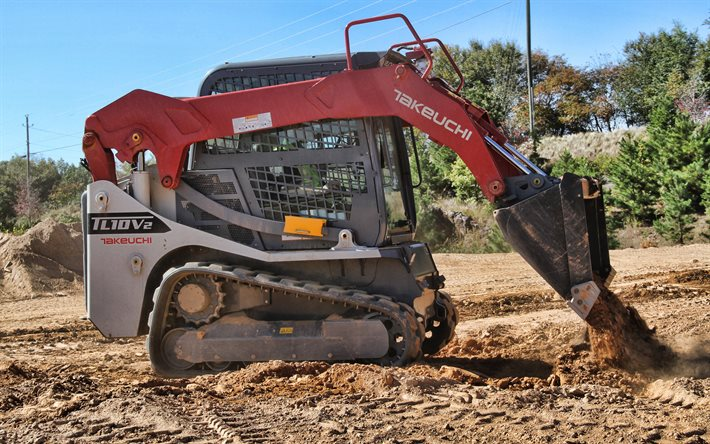 Takeuchi TL10V2, 4k, leveling the soil, 2021 excavators, compact track loaders, construction vehicles, special equipment, HDR, excavators, Takeuchi