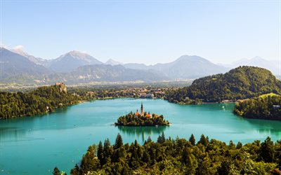 4k, Lake Bled, aerial view, summer, Julian Alps, beautiful nature, Slovenia, Europe