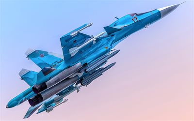 Sukhoi Su-34, sky, fighters, Fullback, Russian Air Force, Su-34, Russian Army, Sukhoi, Flying Su-34