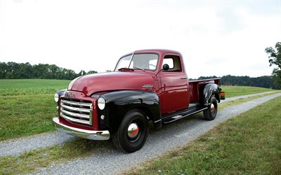 GMC 150, 1949, retro pickup truck, american vintage cars, red black GMC 150, american retro cars, GMC