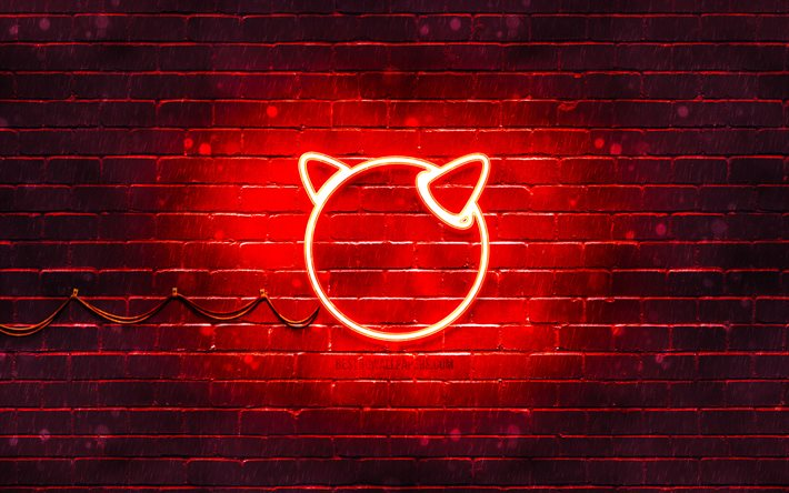 FreeBSD red logo, 4k, red brickwall, FreeBSD logo, OS, FreeBSD neon logo, FreeBSD