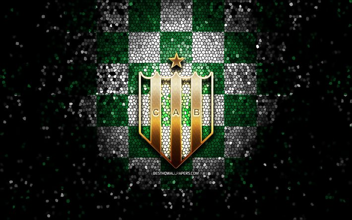 Banfield FC, glitter logo, Argentine Primera Division, green white checkered background, soccer, argentinian football club, Banfield logo, mosaic art, CA Banfield, football, Club Atletico Banfield