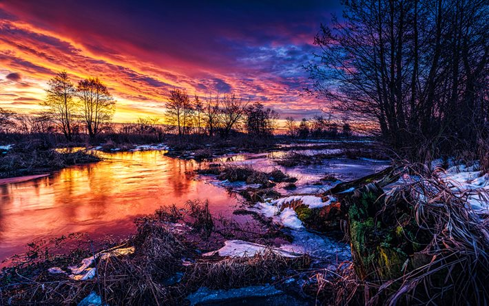 winter, sunset, swamp, bare trees, snowdrifts, beautiful nature, winter landscapes