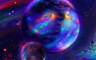 colorful planets, 4k, creative, galaxy, abstract space, nebula, 3D planets, artwork