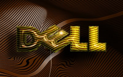 Dell 3D logo, 4K, golden realistic balloons, Dell logo, brown wavy backgrounds, Dell