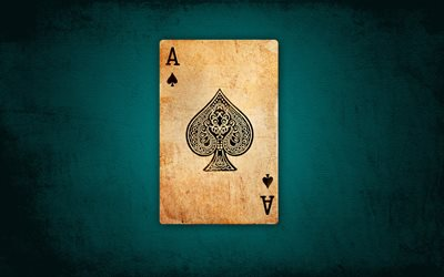 Ace of spades, game table, poker concepts, background with Ace of spades, playing cards, Spadille card