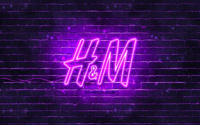 H and M violet logo, 4k, violet brickwall, H and M logo, fashion brands, H and M neon logo, H and M