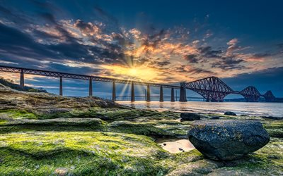 Forth Bridge, 4k, sunset, coast, Scotland, UK, United Kingdom, HDR, railway bridges, Great Britain, beautiful nature