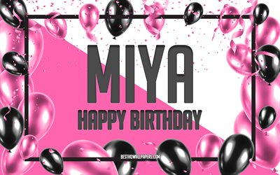 Happy Birthday Miya, Birthday Balloons Background, Miya, wallpapers with names, Miya Happy Birthday, Pink Balloons Birthday Background, greeting card, Miya Birthday