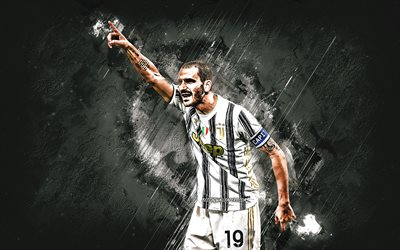 Leonardo Bonucci, Juventus FC, portrait, Italian footballer, gray stone background, football