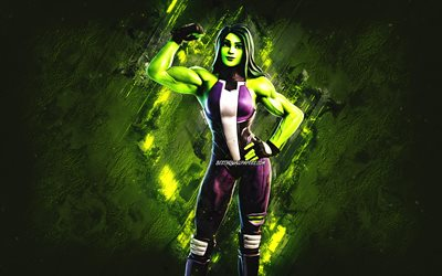 Fortnite She Hulk Skin, Fortnite, main characters, green stone background, She Hulk, Fortnite skins, She Hulk Skin, She Hulk Fortnite, Fortnite characters