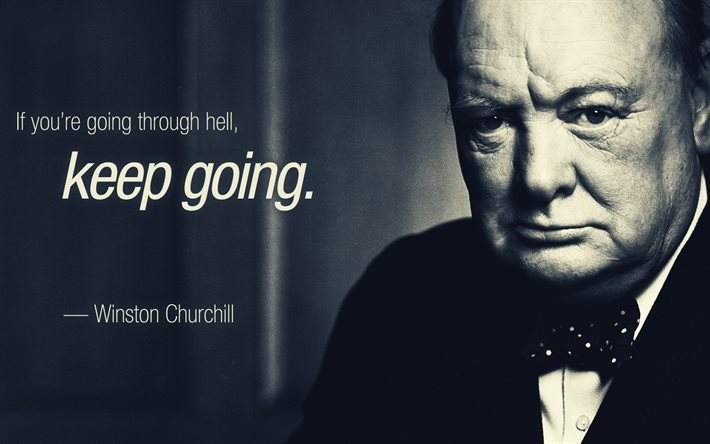 Quotes, Winston Churchill, portrait, quotes of great people