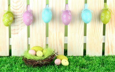 Easter eggs, spring, colorful eggs, fence, green grass