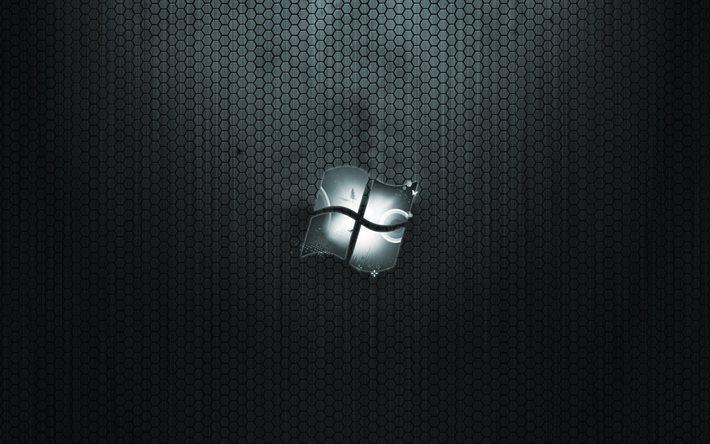 Scarica Sfondi Windows Griglia Sfondo Scuro Logo Microsoft