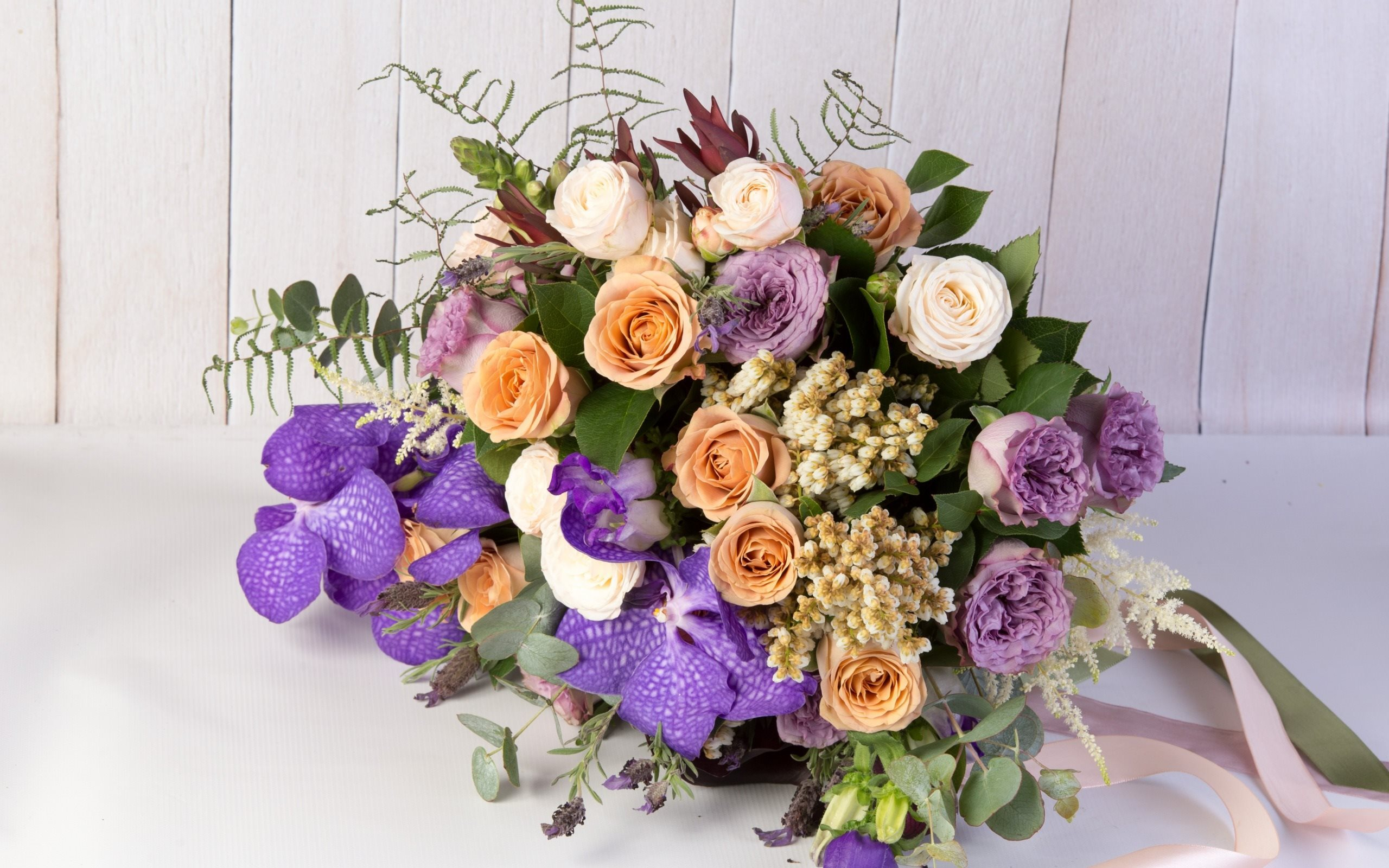 Wedding bouquet, roses, orchid, beautiful bouquets, purple orchid
