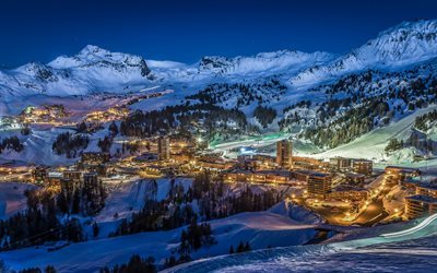 Savoy, winter, mountains, night, resort, France