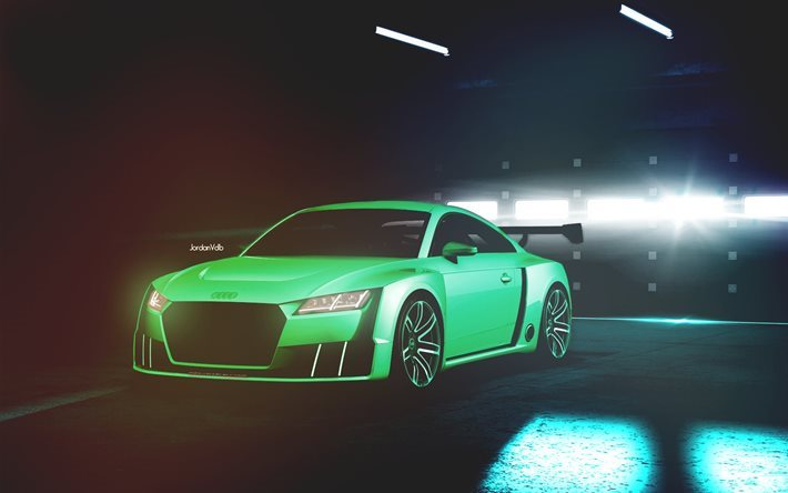 Audi TT RS, 2017 cars, garage, supercars, green tt, Audi
