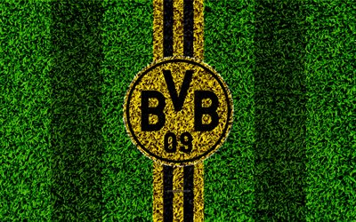 Borussia Dortmund FC, 4k, German football club, football lawn, Borussia logo, emblem, grass texture, Bundesliga, Dortmund, Germany, football