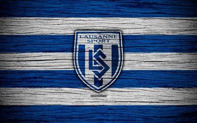 Lausanne, 4k, wooden texture, Switzerland Super League, soccer, football, emblem, FC Lausanne, Switzerland, logo, Lausanne FC