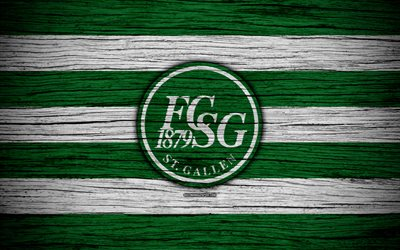 St Gallen, 4k, wooden texture, Switzerland Super League, soccer, football, emblem, FC St Gallen, Switzerland, logo, St Gallen FC