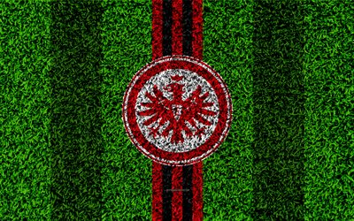 Eintracht Frankfurt, 4k, German football club, football lawn, logo, emblem, grass texture, Bundesliga, Frankfurt am Main, Germany, football