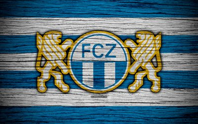 Zurich FC, 4k, wooden texture, Switzerland Super League, soccer, football, emblem, FC Zurich, Switzerland, logo, Zurich