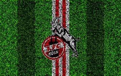 FC Koln, 4k, German football club, football lawn, logo, emblem, grass texture, Bundesliga, Cologne, Germany, football