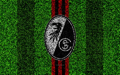 SC Freiburg, 4k, German football club, football lawn, logo, emblem, grass texture, Bundesliga, Freiburg, Germany, football, Freiburg FC