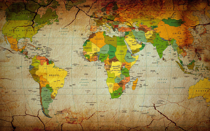 Download wallpapers world map retro style political map of the world map retro style political map of the world earth continent map gumiabroncs Image collections