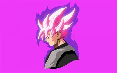 Super Saiyan Pink, 4k, Dragon Ball, minimal, Black Goku, DBS, Dragon Ball Super