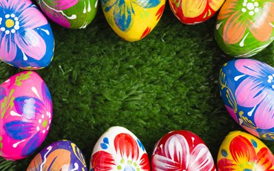 painted easter eggs, green grass, Easter, decorated eggs, easter frame, spring