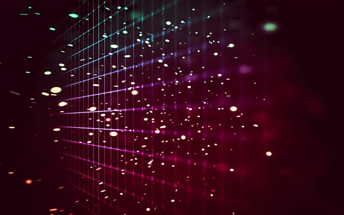 4k Neon Grid Lines Creative Art Bokeh
