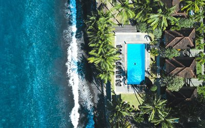 Bali, hotel, swimming pool, beach, view from above, sea, resort, Indonesia