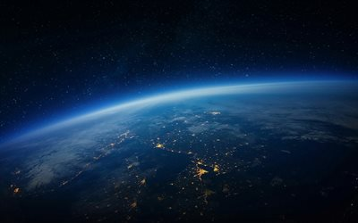 Earth from space, night, city lights, view from space, Earth, cities from space