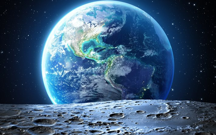 Earth from space, 4k, moon surface, galaxy, North America, South America, sci-fi, universe, NASA, planets, North America from space, South America from space
