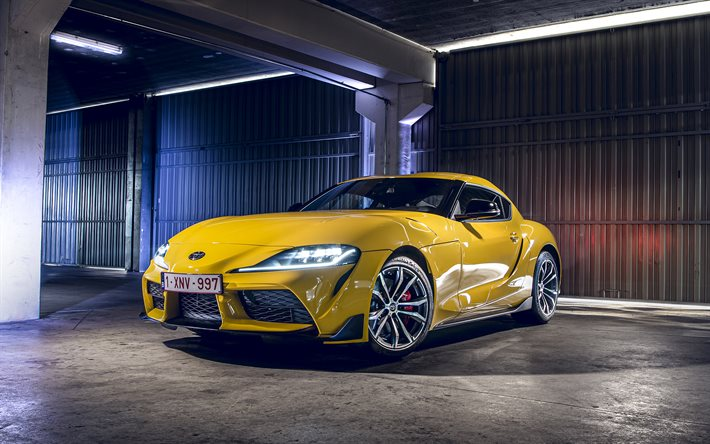 Download wallpapers Toyota Supra, 2021, yellow sports ...