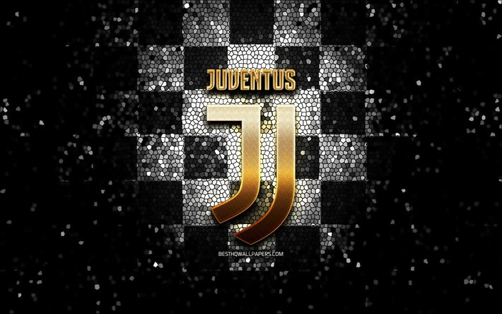download wallpapers juventus fc glitter logo serie a black white checkered background soccer juve italian football club juventus logo mosaic art football italy fc juventus for desktop free pictures for desktop free football italy fc juventus