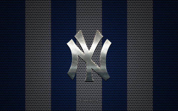 New York Yankees logo, American baseball club, metal emblem, blue white metal mesh background, New York Yankees, MLB, New York, USA, baseball