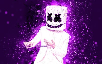 DJ Marshmello, 4k, dance, violet neon lights, music stars, Christopher Comstock, american DJ, superstars, creative, Marshmello, DJs