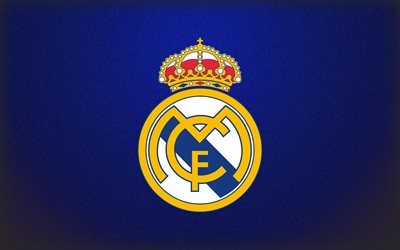 Real Madrid, logo, blue background, La Liga