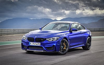 BMW M4 CS, 2018, Blue M4, tuning BMW, black wheels, racing track, BMW, German cars